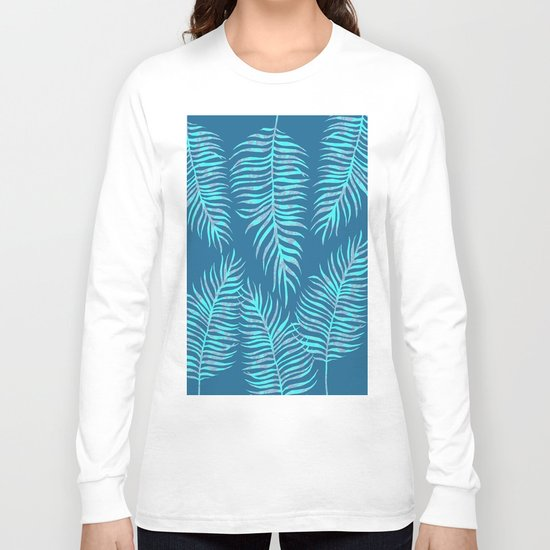 Fern Pattern On Blue Background Long Sleeve T-shirt