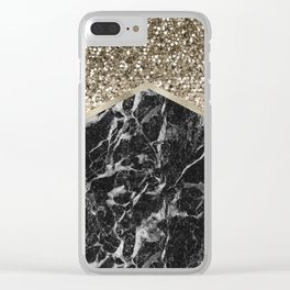 Shimmering golden chevron black marble Clear iPhone Case