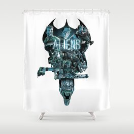 Aliens Illustration Tribute Shower Curtain