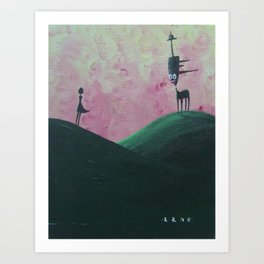 The Devil Trying to Tempt the Last Woman in the Village with the Smell of Fresh Tarmac.  Art Print
