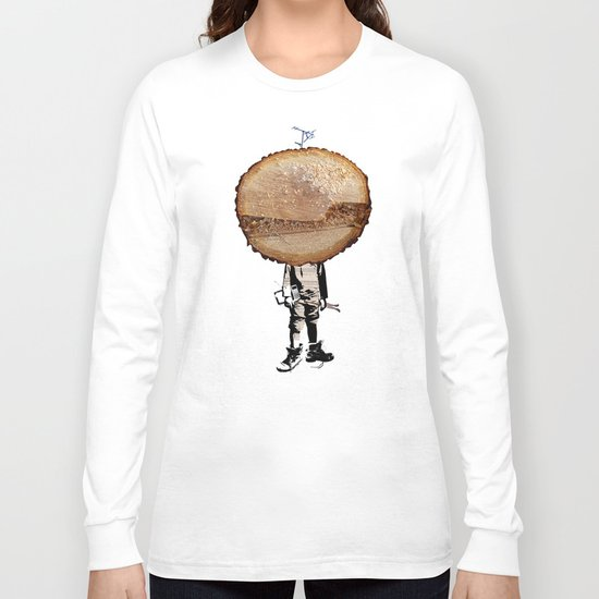 Wood Head Kid Collage Long Sleeve T-shirt