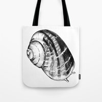 snail Tote Bags featuring Snail by MARIA BOZINA - PRINT