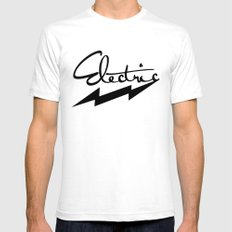 electric White SMALL Mens Fitted Tee