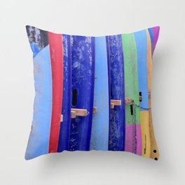 Assorted Color Surfboards Throw Pillow