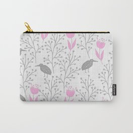 Kiwi Garden - Pink and Gray Carry-All Pouch