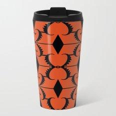 Black, orange ethnic pattern. Metal Travel Mug