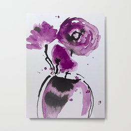 Abstract Poppies Watercolor Metal Print