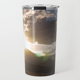 Wyoming Sunset with Lens Flair over the Beartooth Moutains Travel Mug