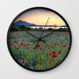 Red Poppies. Sunset at the lake Wall Clock