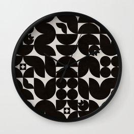 Black & White Mid Century Modern Pattern Wall Clock