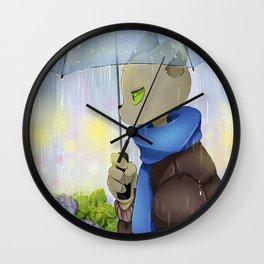 Maestro Gato, lluvia y hortensias Wall Clock