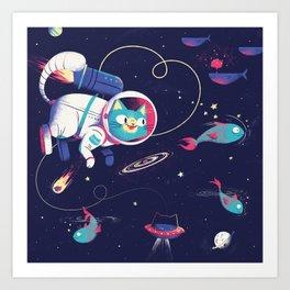 The Adventures of Space Cat Art Print