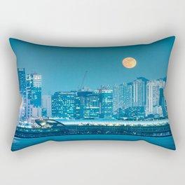 Super Moon over city skyline Rectangular Pillow