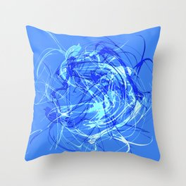 Abstract Blue with Lines Throw Pillow