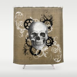 Skull With Gears and Floral Ornaments Shower Curtain