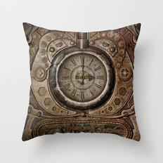 Brown Grunge Vintage Steampunk Clock Throw Pillow
