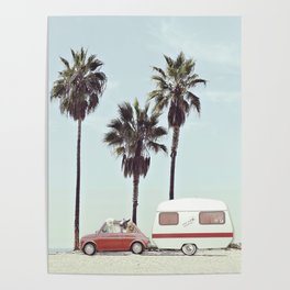 NEVER STOP EXPLORING - CAMPING PALM BEACH Poster