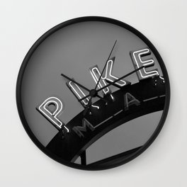 Seattle Pike Place Market Black and White Wall Clock