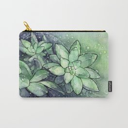 Crystal Succulents in Watercolor Carry-All Pouch