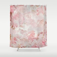 Vintage Floral Rose Roses painterly pattern in pink on #Society6 Shower Curtain
