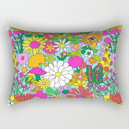 60's Groovy Garden in Blue Rectangular Pillow