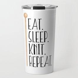 Eat Sleep Knit Repeat Travel Mug