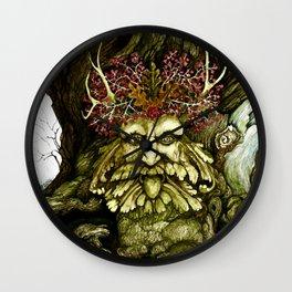 Green Man of the Wood Original Watercolor Wall Clock