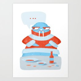Grumpy Christmas Walrus Art Print