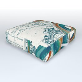 Teal Octopus Vintage Map Watercolor Outdoor Floor Cushion