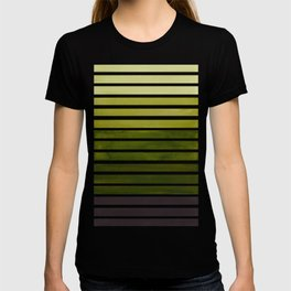 Watercolor Gouache Mid Century Modern Minimalist Colorful Olive Green Stripes T-shirt
