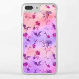 Modern hand painted abstract pink violet watercolor floral Clear iPhone Case