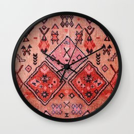 N52 - Pink & Orange Antique Oriental Traditional Moroccan Style Artwork Wall Clock