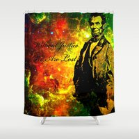 lincoln Shower Curtains featuring Abraham Lincoln by Saundra Myles