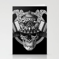 bioworkz Stationery Cards featuring Samurai Skull by BIOWORKZ