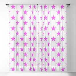 Stars (Magenta & White Pattern) Sheer Curtain