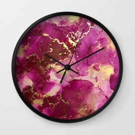 Pink and Brass Wall Clock