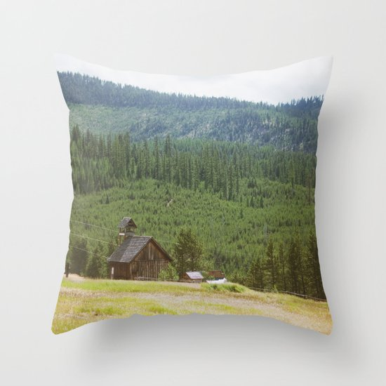 Forest Mountain Church Throw Pillow