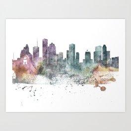 Houston Nature Pastels Skyline Art Print