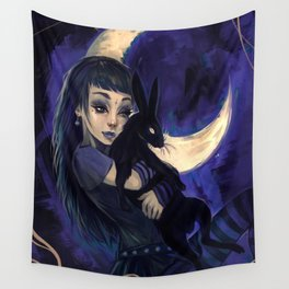 Hare in the moon Wall Tapestry