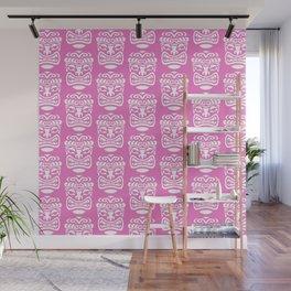 Tiki Pattern Pink Wall Mural