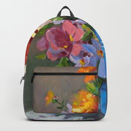 Blue vase and flowers Backpack