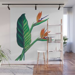 Watercolor Bird of Paradise Wall Mural