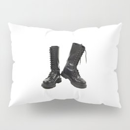 Pair of black leather bovver boots Pillow Sham