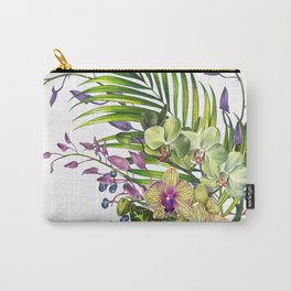 Bouquet, Orchid, Bud, Leaf Clipart, watercolor, handpainted, floral, flower, design, style, troical Carry-All Pouch