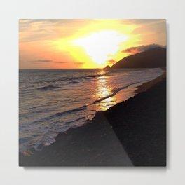 Sunset Flashes Cali Coast Metal Print