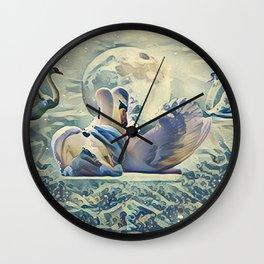 Four Swans Moon Rise Wall Clock