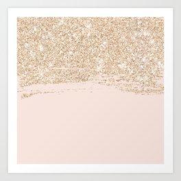 Girly luxury gold glitter sparkle brushstroke pastel blush pink  Art Print