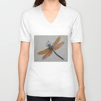 dragonfly V-neck T-shirts featuring Dragonfly by Michael Creese