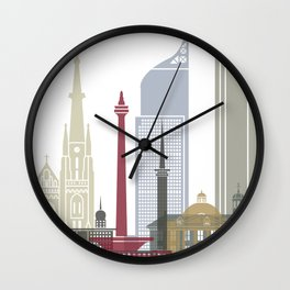 Jakarta skyline poster Wall Clock