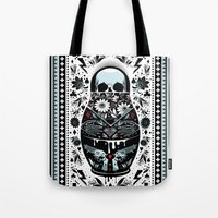 russian Tote Bags featuring Russian Doll by koivo